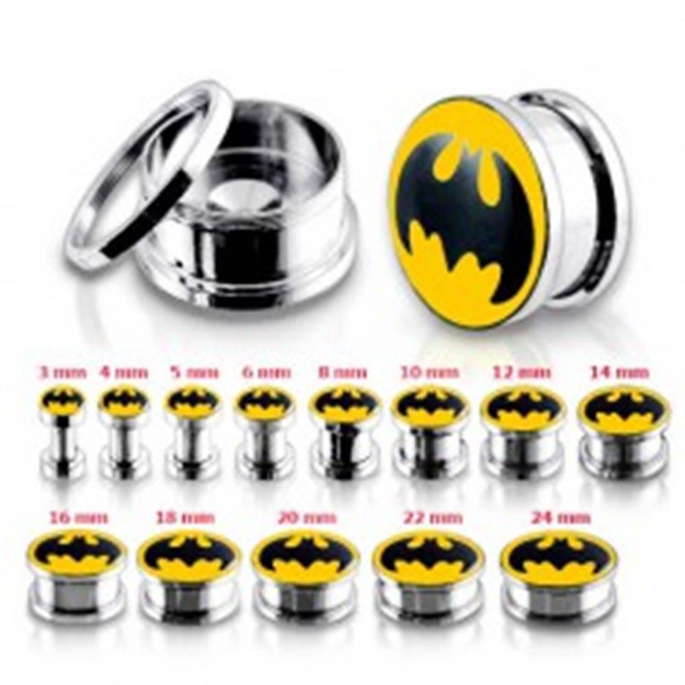 Šperky eshop Oceľový tunel plug do ucha, Batman - Hrúbka: 10 mm