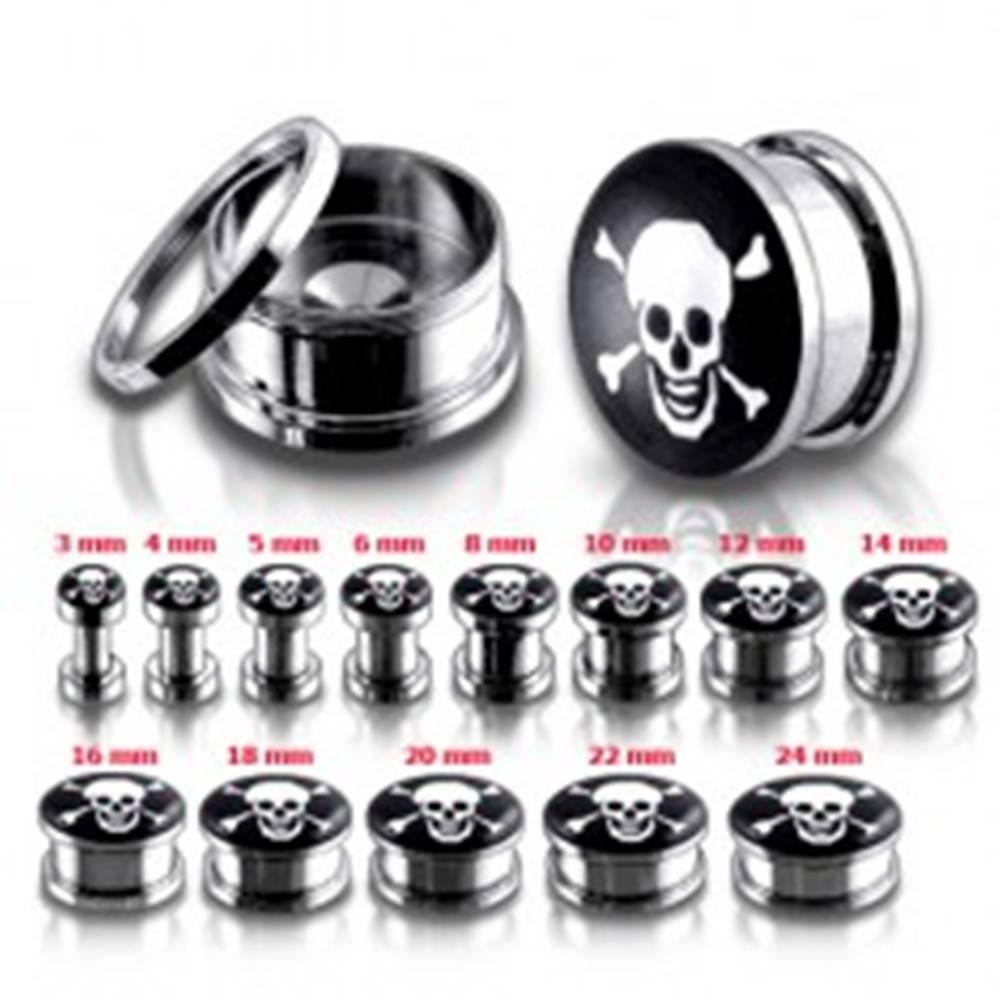 Šperky eshop Oceľový tunel plug do ucha, lebka a skrížené kosti - Hrúbka: 10 mm