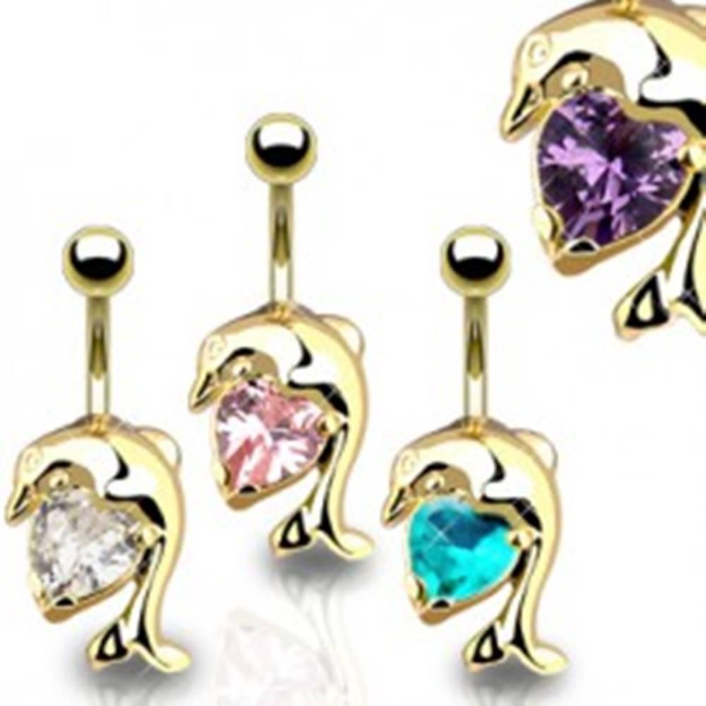 Šperky eshop Piercing do brucha, zlatá farba, lesklý skákajúci delfín, zirkónové srdiečko - Farba zirkónu: Aqua modrá - Q