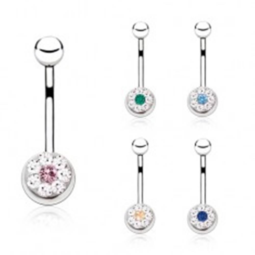 Šperky eshop Piercing do bruška z ocele s farebným zirkónom a menšími čírymi kamienkami - Farba zirkónu: Aqua modrá - Q
