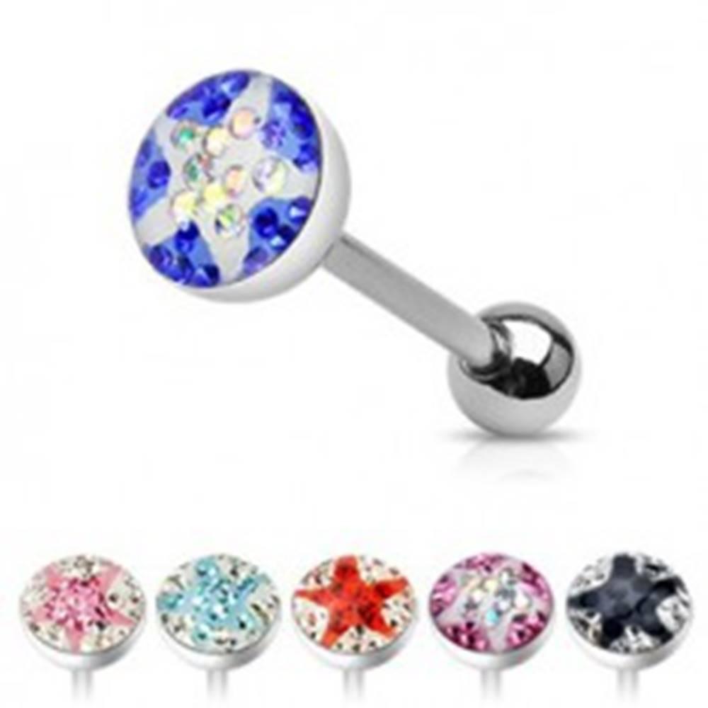 Šperky eshop Piercing do jazyka - zaliate farebné zirkóny, hviezda - Farba zirkónu: Aqua - číra