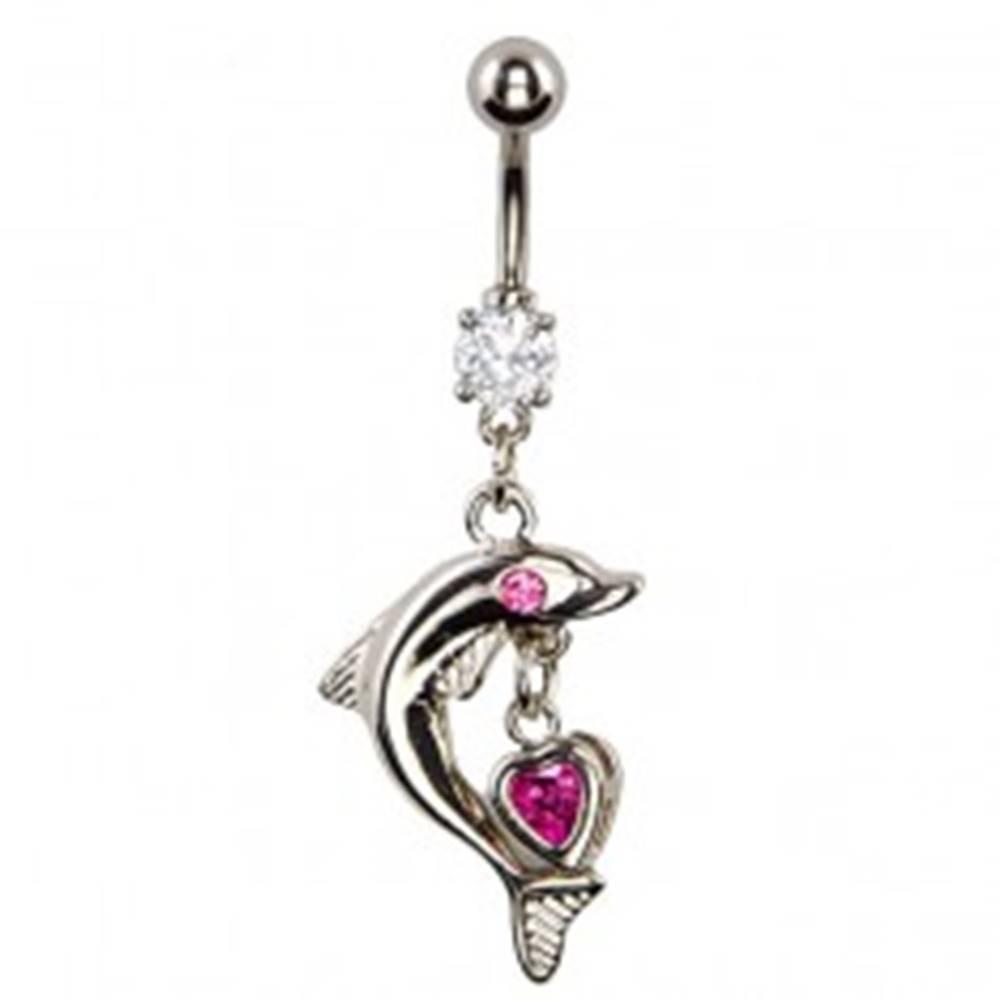 Šperky eshop Piercing do pupka - delfín s ružovým okom, srdcový prívesok