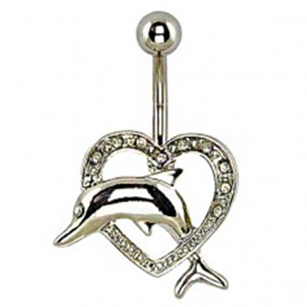 Šperky eshop Piercing do pupka - delfín skákajúci cez srdce
