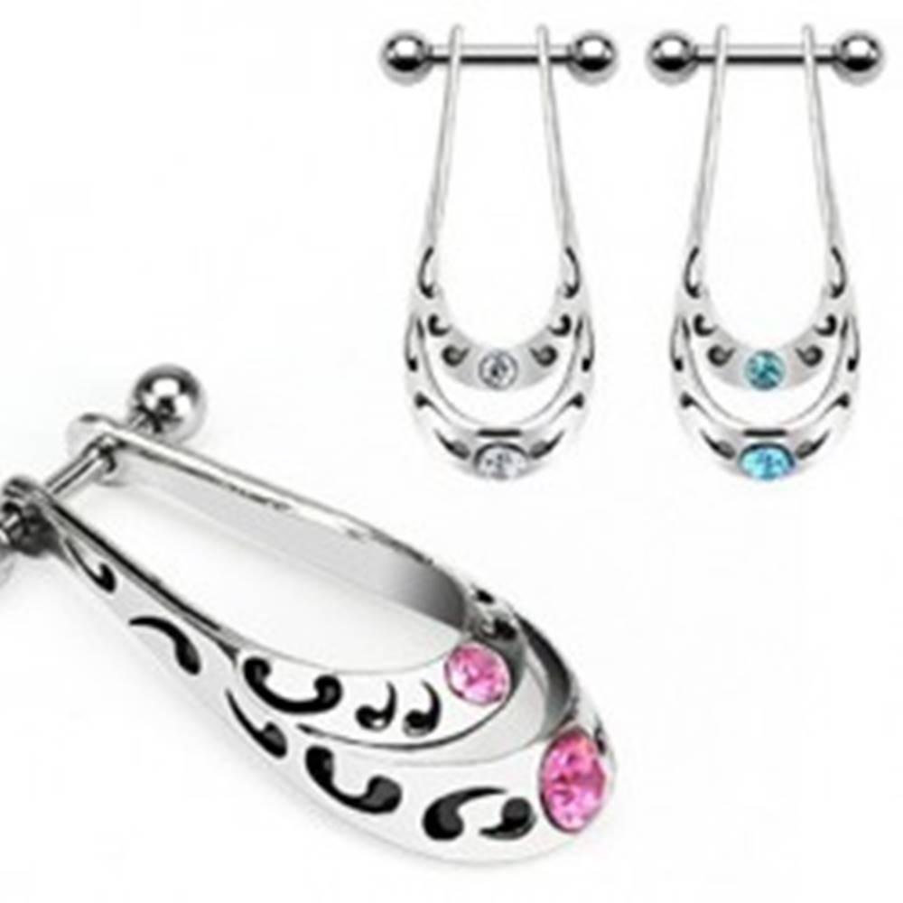 Šperky eshop Piercing z chirurgickej ocele - kmeňový vzor, zirkóny - Farba zirkónu: Aqua modrá - Q