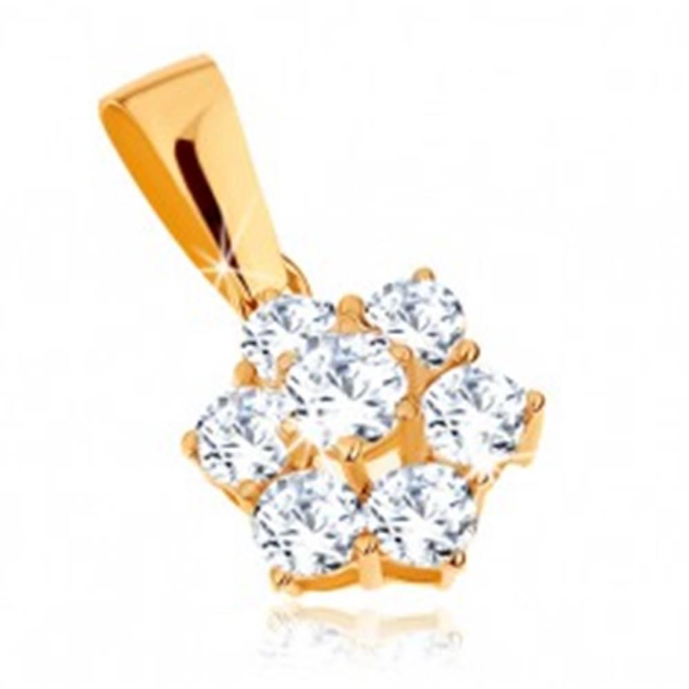 Šperky eshop Prívesok v žltom 9K zlate - trblietavý zirkónový kvietok čírej farby