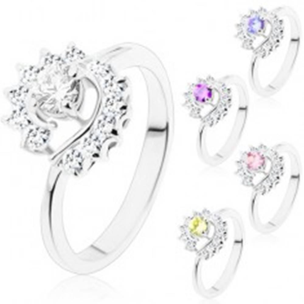 Šperky eshop Prsteň so zúženými ramenami, okrúhly brúsený zirkón, číre zirkónové oblúky - Veľkosť: 49 mm, Farba: Číra
