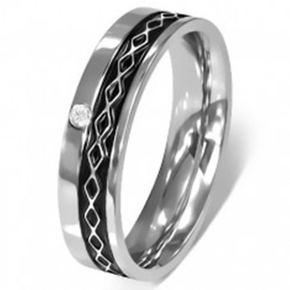 Šperky eshop Prsteň z chirurgickej ocele - Keltský dizajn, číry zirkón - Veľkosť: 49 mm