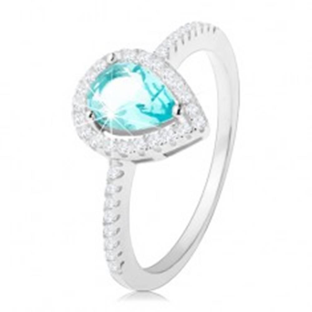 Šperky eshop Prsteň zo striebra 925, kvapka svetlomodrej farby s čírym zirkónovým lemom - Veľkosť: 49 mm