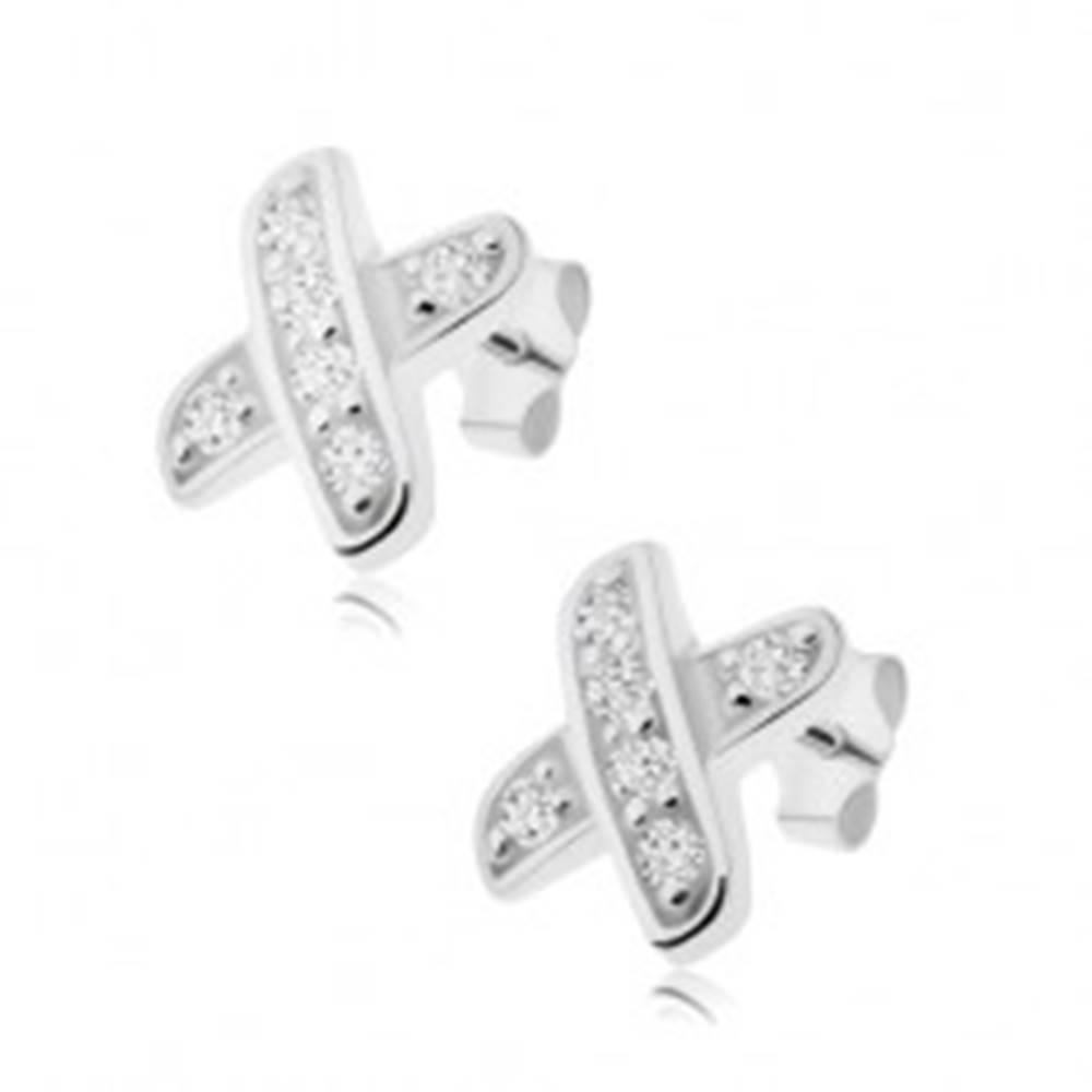 Šperky eshop Puzetové náušnice, prekrížené línie zdobené čírymi zirkónmi, striebro 925