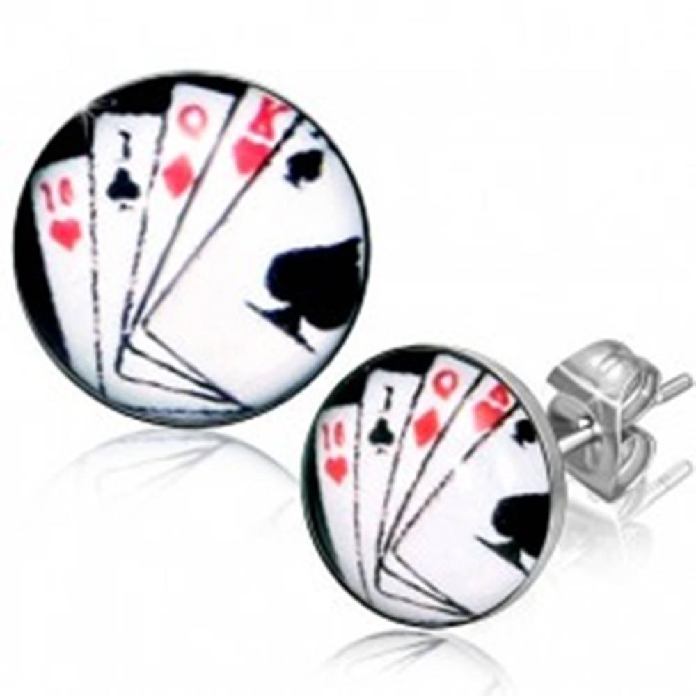 Šperky eshop Puzetové náušnice z chirurgickej ocele, hracie karty