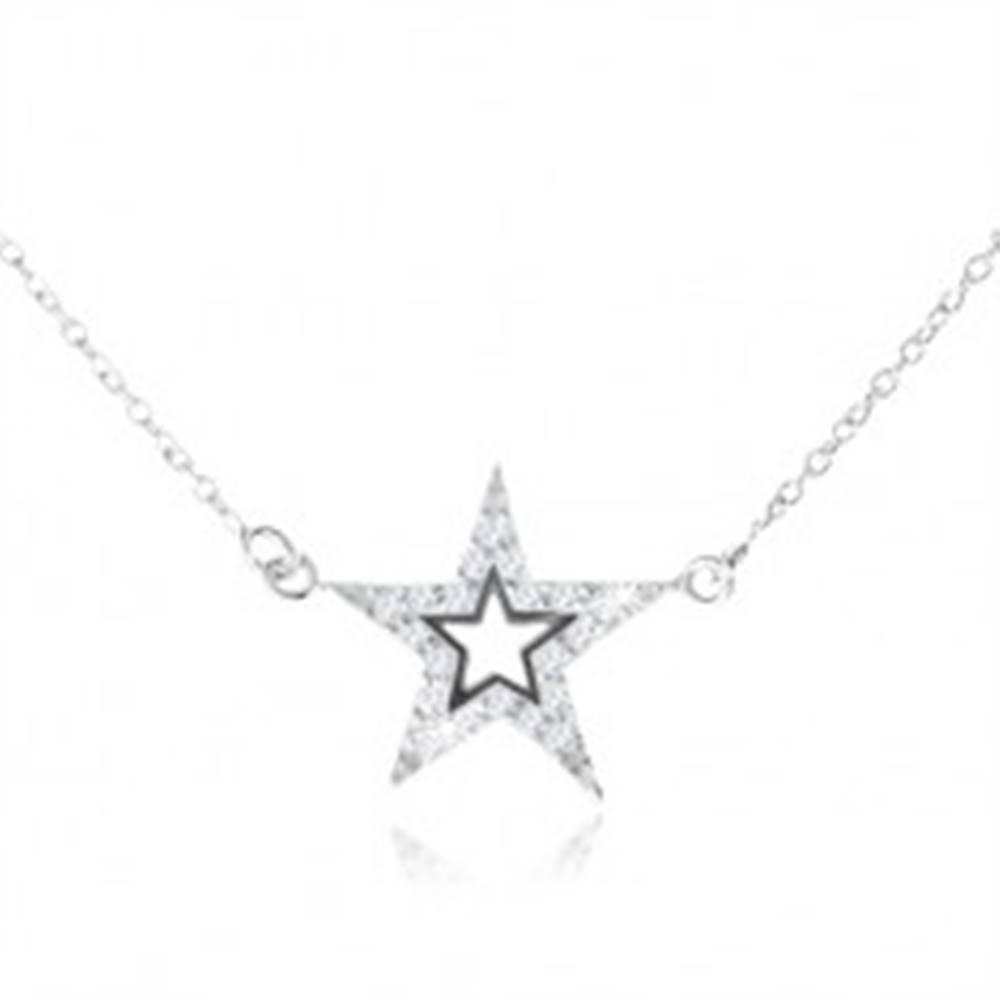 Šperky eshop Strieborný 925 náhrdelník, päťcípa zirkónová hviezda s výrezom