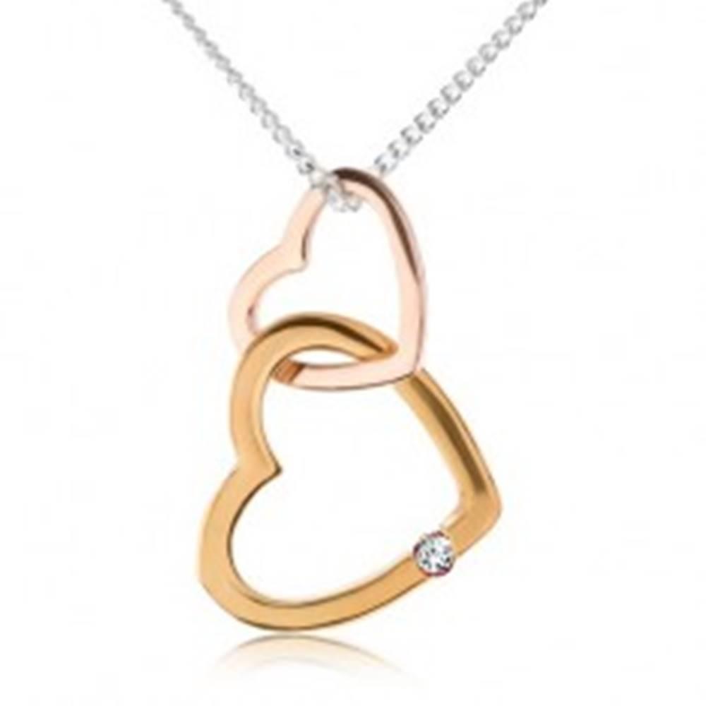 Šperky eshop Strieborný náhrdelník 925, dve kontúry sŕdc, zlatá a medená farba