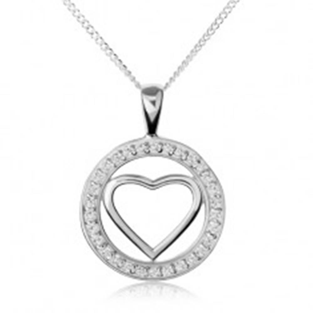 Šperky eshop Strieborný náhrdelník 925, lesklá kontúra srdca v zirkónovej obruči