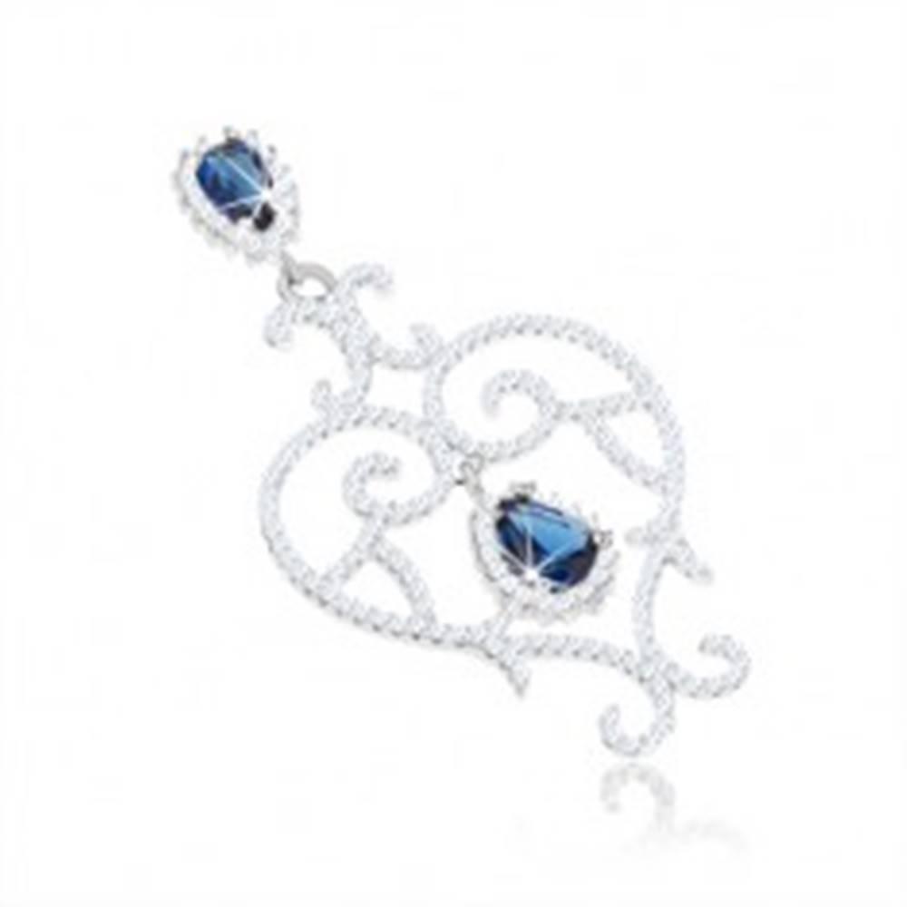 Šperky eshop Strieborný prívesok 925, kontúra srdca, špirálovité línie, číre a modré zirkóny