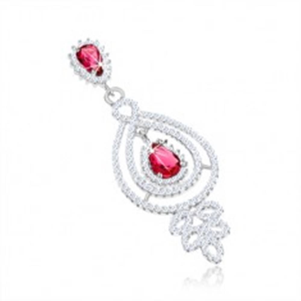 Šperky eshop Strieborný prívesok 925, kontúry kvapky, číre a červené zirkóny, lístky