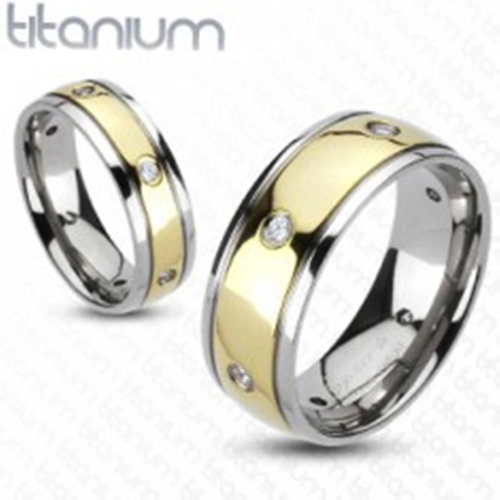 Šperky eshop Titánový prsteň so zirkónmi, dvojfarebný - Veľkosť: 49 mm