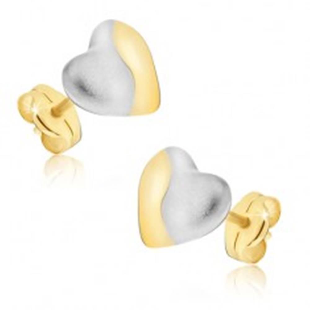 Šperky eshop Zlaté náušnice 585 - dvojfarebné symetrické srdcia, puzetky