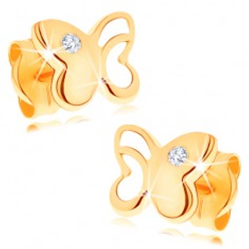 Šperky eshop Zlaté náušnice 585 - lesklý motýľ s vyrezávanou časťou, okrúhly zirkón čírej farby