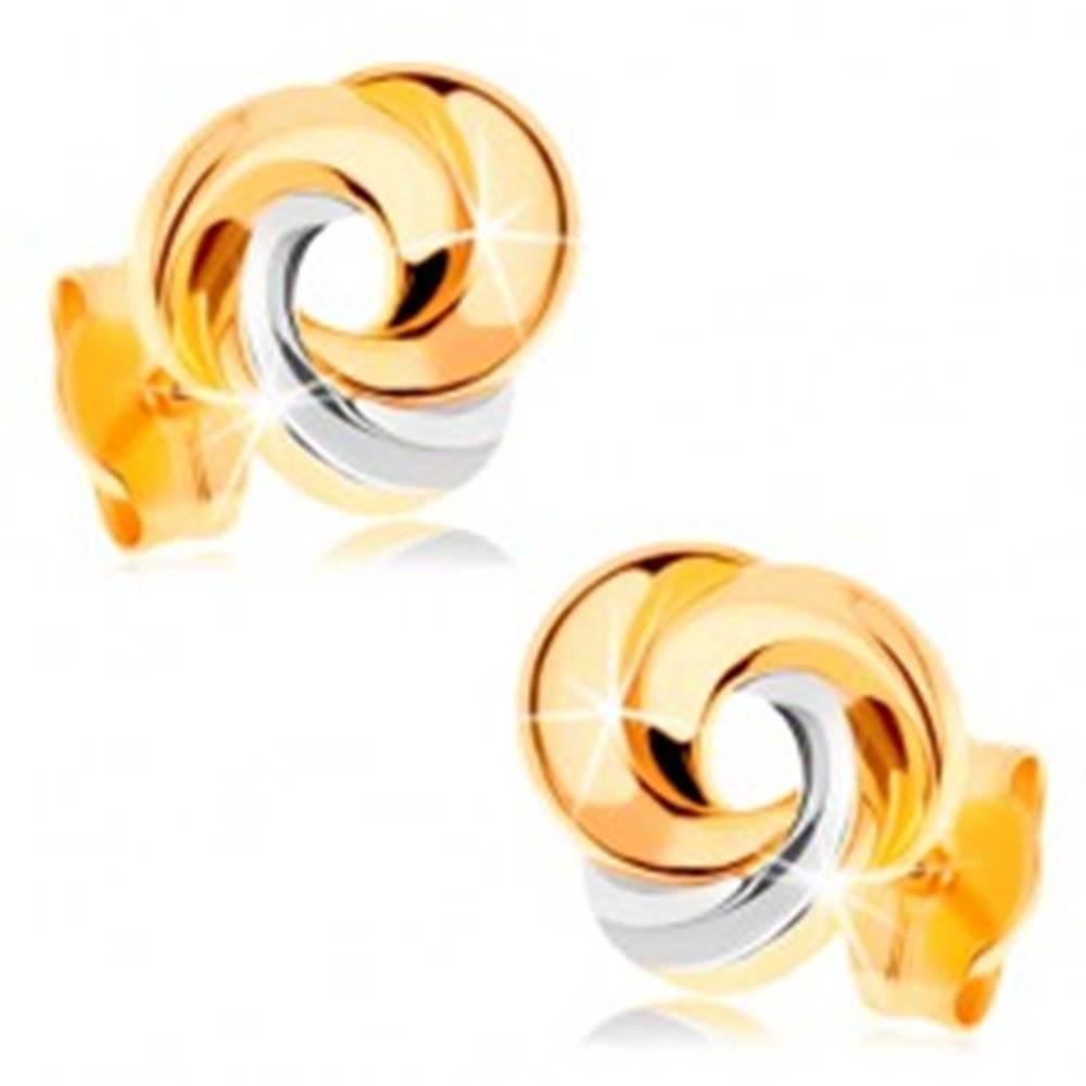 Šperky eshop Zlaté náušnice 585 - tri prepojené prstence, žlté a biele zlato