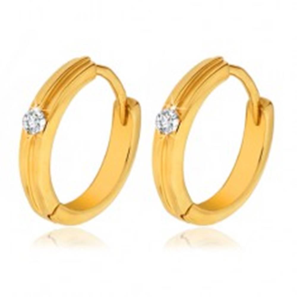 Šperky eshop Zlaté okrúhle náušnice 585 - tenký vystupujúci pruh, číry kamienok
