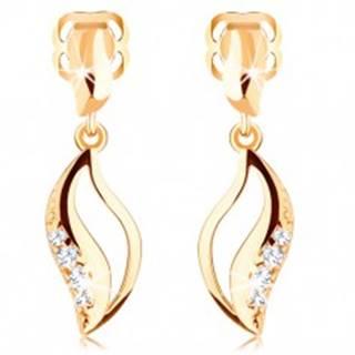 Briliantové náušnice v žltom 14K zlate - zvlnené zrnko s výrezom a diamantmi