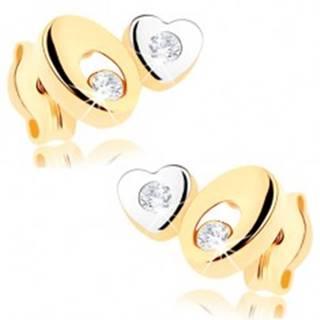Dvojfarebné zlaté náušnice 375 - ovál s výrezom, malé srdiečko, číre zirkóniky
