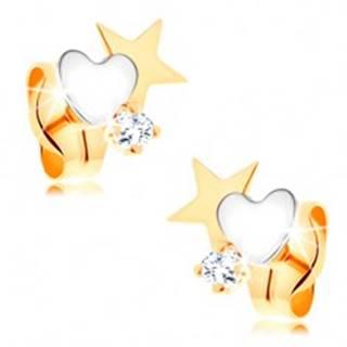 Dvojfarebné zlaté náušnice 585 - hviezda a srdce, okrúhly číry zirkónik