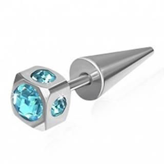 Falošný expander z ocele - kocka, vsadené svetlomodré zirkóny