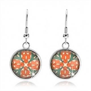 Kabošon náušnice, kruh s glazúrou, kvet z oranžových a zelených ornamentov