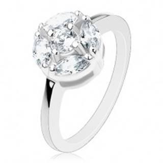 Lesklý prsteň striebornej farby, kruh zdobený čírymi zrnkami a okrúhlym zirkónom - Veľkosť: 57 mm