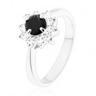 Ligotavý prsteň s úzkymi ramenami, okrúhly čierny zirkón s čírym lemovaním - Veľkosť: 49 mm
