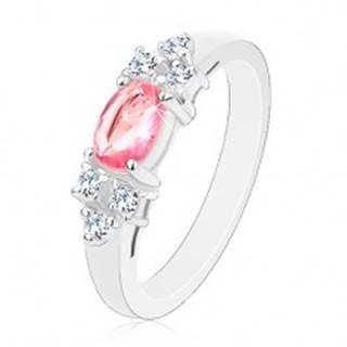 Ligotavý prsteň v striebornom odtieni, ružovo-číra zirkónová mašlička - Veľkosť: 50 mm