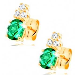Náušnice v žltom 14K zlate - oválny zelený smaragd, tri číre zirkóniky