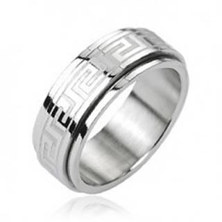 Oceľový prsteň - otáčavý stred, grécky kľúč, strieborná farba - Veľkosť: 58 mm