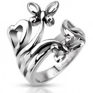 Oceľový prsteň s motívmi sŕdc a motýľov - Veľkosť: 49 mm