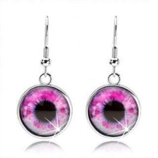 Okrúhle náušnice, vypuklé sklo, oko v ružovo-bielom odtieni, cabochon