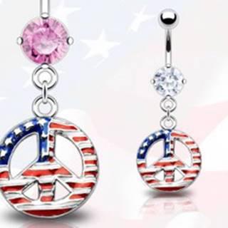 Piercing do pupka - symbol mieru, americká vlajka - Farba zirkónu: Ružová - P