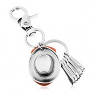 Prívesok na kľúče s lesklým patinovaným povrchom a kovbojským klobúkom