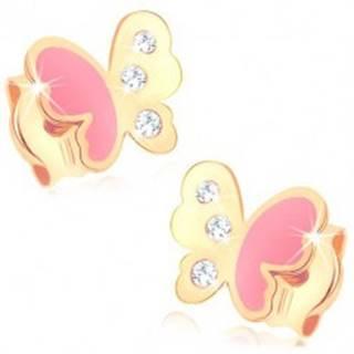 Puzetové náušnice v žltom 9K zlate, motýlik zdobený ružovou glazúrou