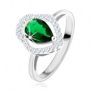 Strieborný prsteň 925, zelená zirkónová kvapka, číry ligotavý obrys - Veľkosť: 49 mm