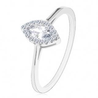 Zásnubný prsteň, striebro 925, číre zirkónové zrnko s trblietavou obrubou - Veľkosť: 49 mm