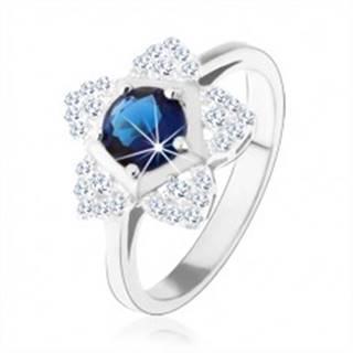 Zásnubný prsteň, striebro 925, ligotavý kvietok, okrúhly modrý zirkón - Veľkosť: 49 mm