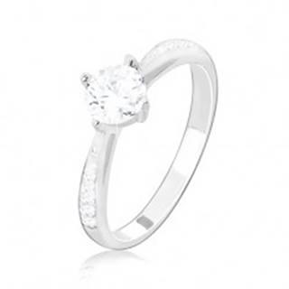 Zásnubný prsteň, striebro 925,  zdobené ramená, číry okrúhly zirkón - Veľkosť: 49 mm