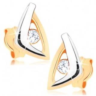 Zlaté náušnice 375 - dvojfarebný obrys trojuholníka, zirkónik čírej farby