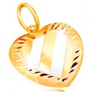 Zlatý prívesok 14K - srdce so šikmými pásmi z bieleho zlata, zárezy po obvode
