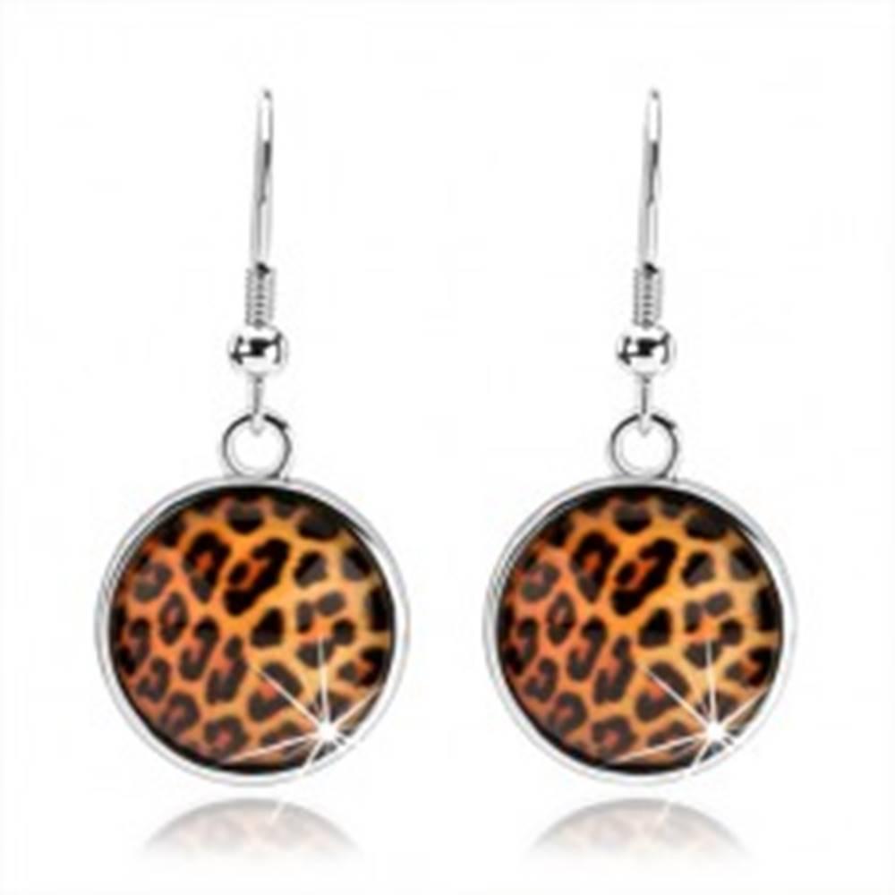 Šperky eshop Kabošon náušnice, vypuklé číre sklo, leopardí motív, afroháčiky