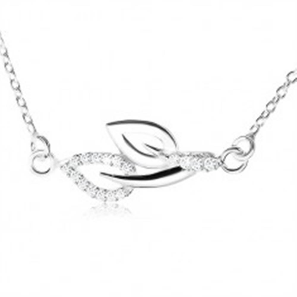 Šperky eshop Náhrdelník zo striebra 925, dva obrysy listov na stopkách, číre zirkóny