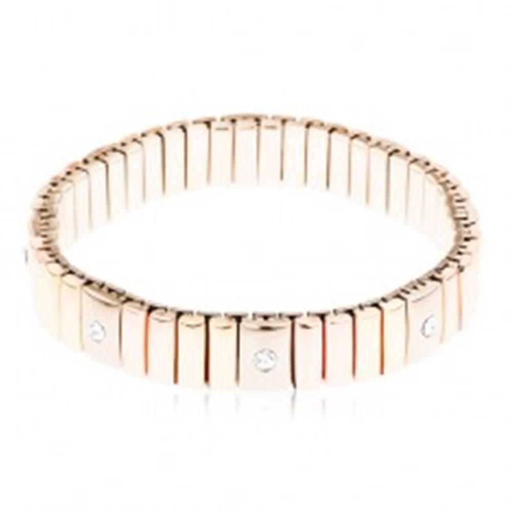 Šperky eshop Náramok z chirurgickej ocele, články zlatej, medenej a striebornej farby, zirkóny