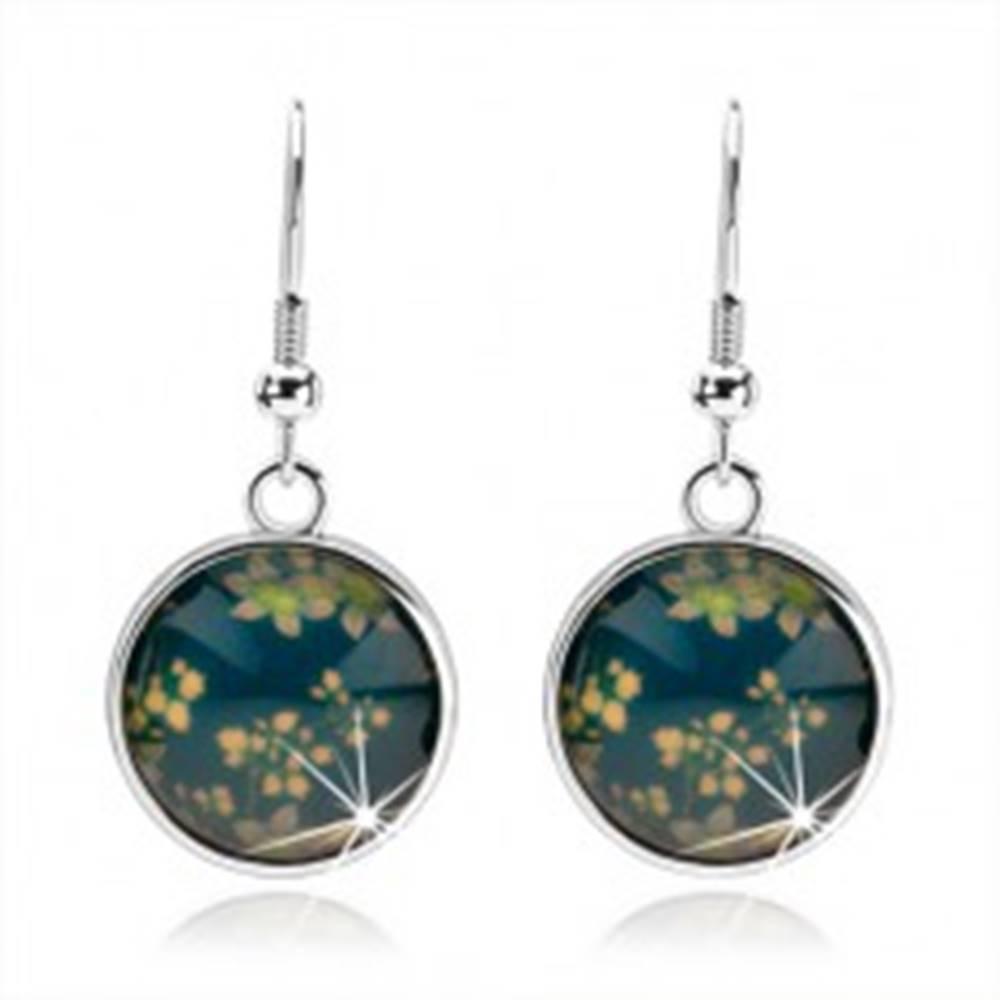 Šperky eshop Náušnice kabošon, kruh s glazúrou, kvetinový vzor, modrý podklad