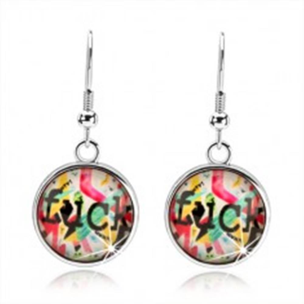 Šperky eshop Náušnice kabošon, vypuklá glazúra, rôznofarebné pásiky a útvary, nápis